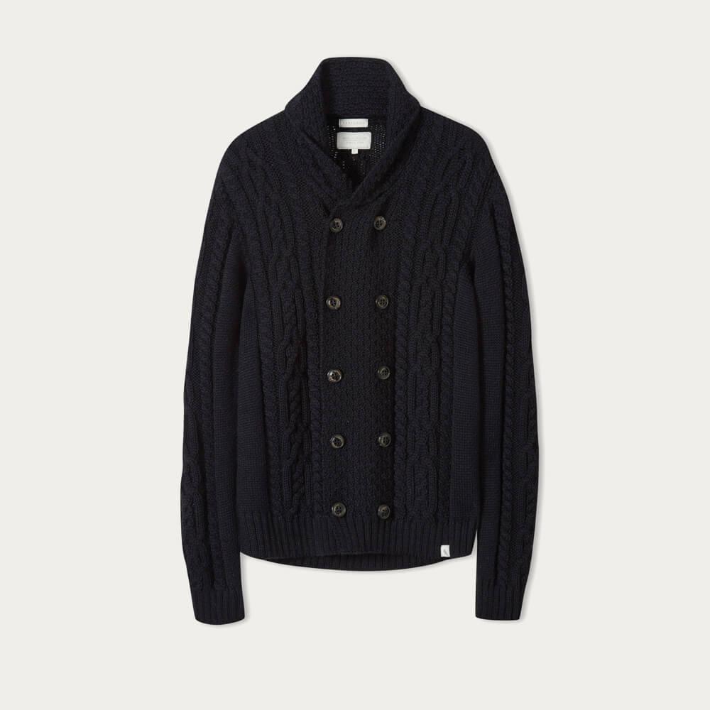 Navy Knitted Aran Coat | Bombinate