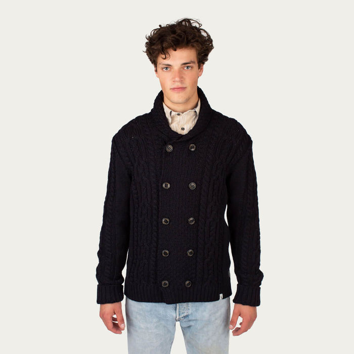 Navy Knitted Aran Coat | Bombinate