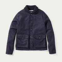 Navy Wilson Wool Shawl Coat | Bombinate