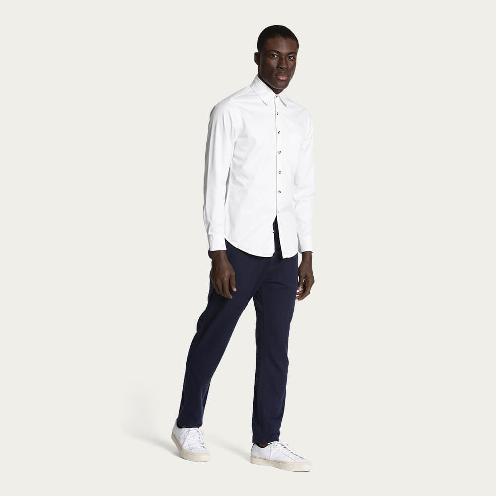 Black Iris (Navy) Cotton Straight Leg Trouser | Bombinate