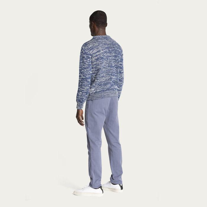 Estate Blue & Ecru/Natural 1Kg Wool & Linen Sweater | Bombinate