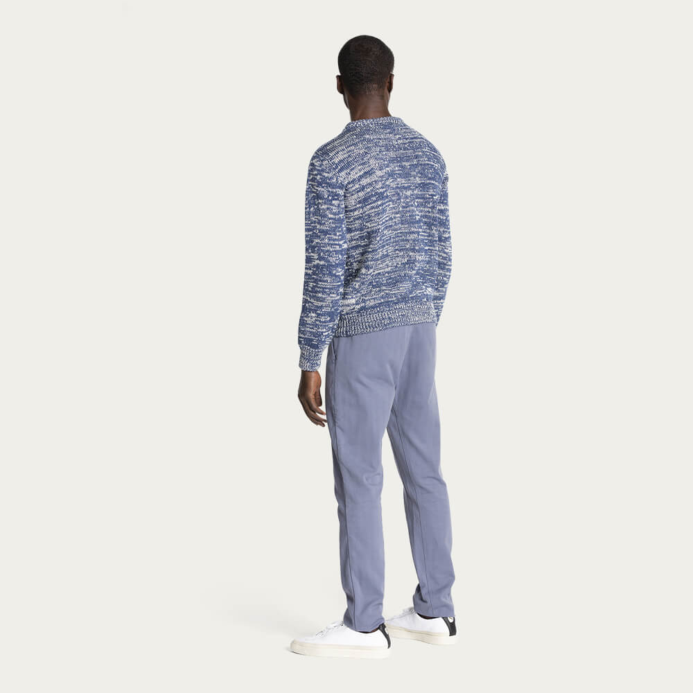 Estate Blue & Ecru/Natural 1Kg Wool & Linen Sweater | Bombinate