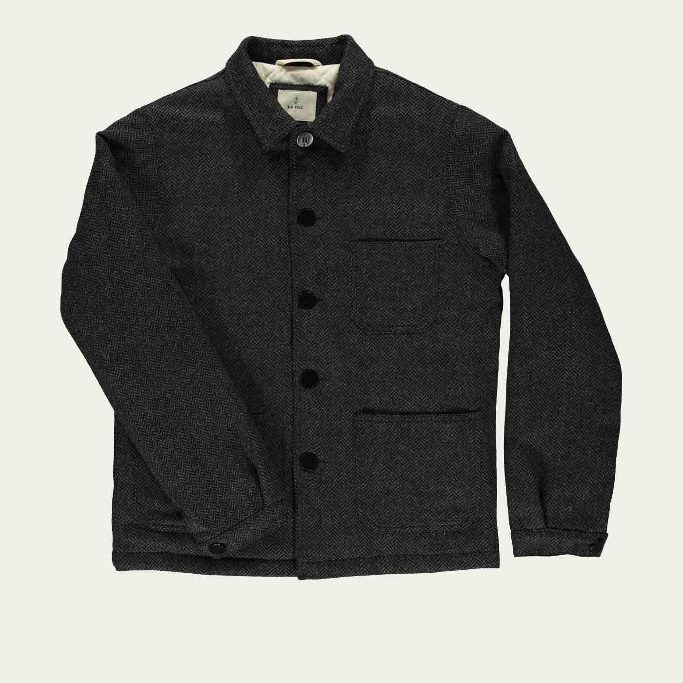 Green/Black Herringbone Baptista Worker Jacket | Bombinate