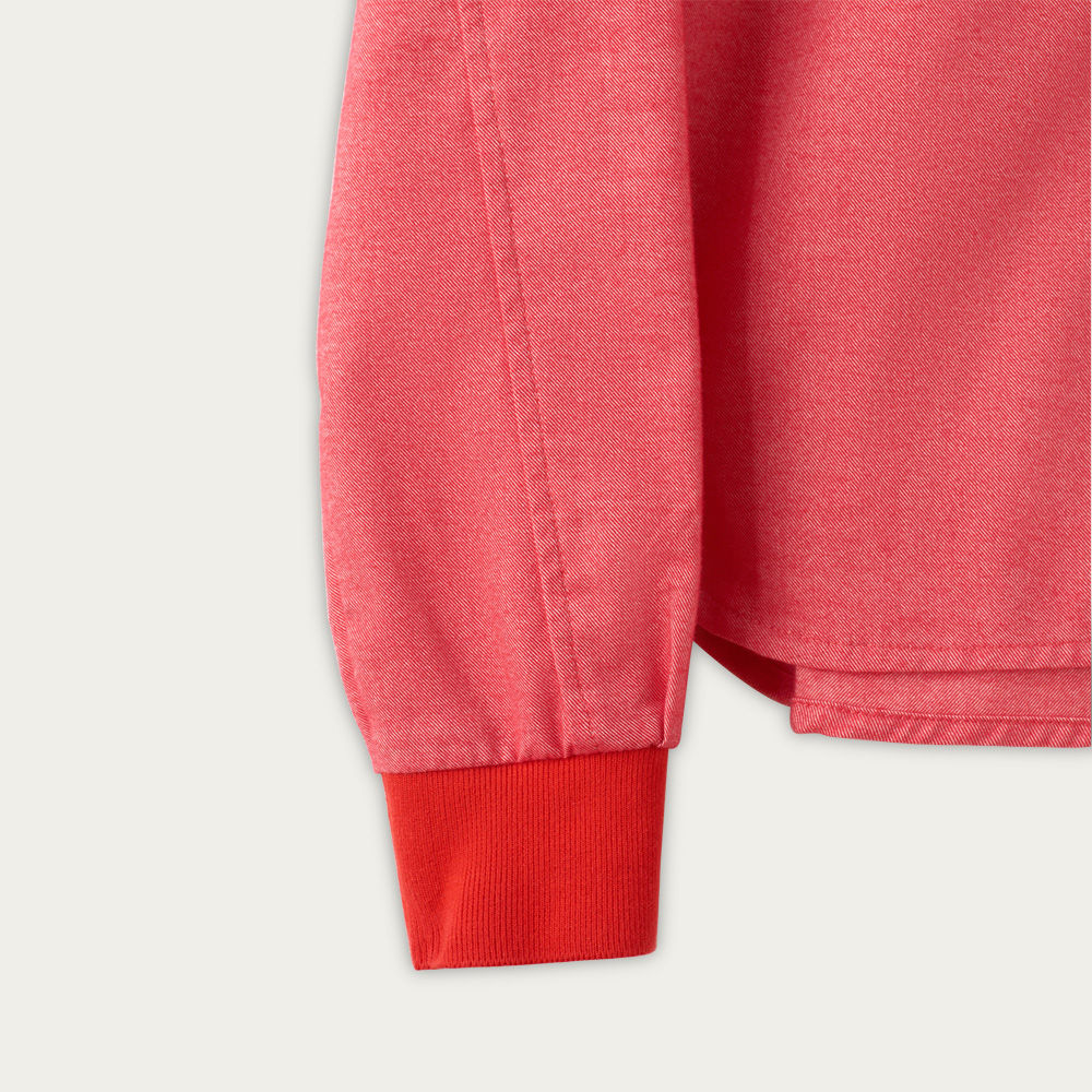 Coral Red Cotton Shawl Collar Casual Shirt  | Bombinate