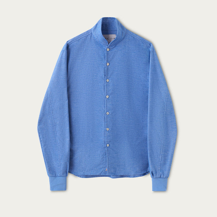 Snorkel Blue Cotton Shawl Collar Casual Shirt  | Bombinate