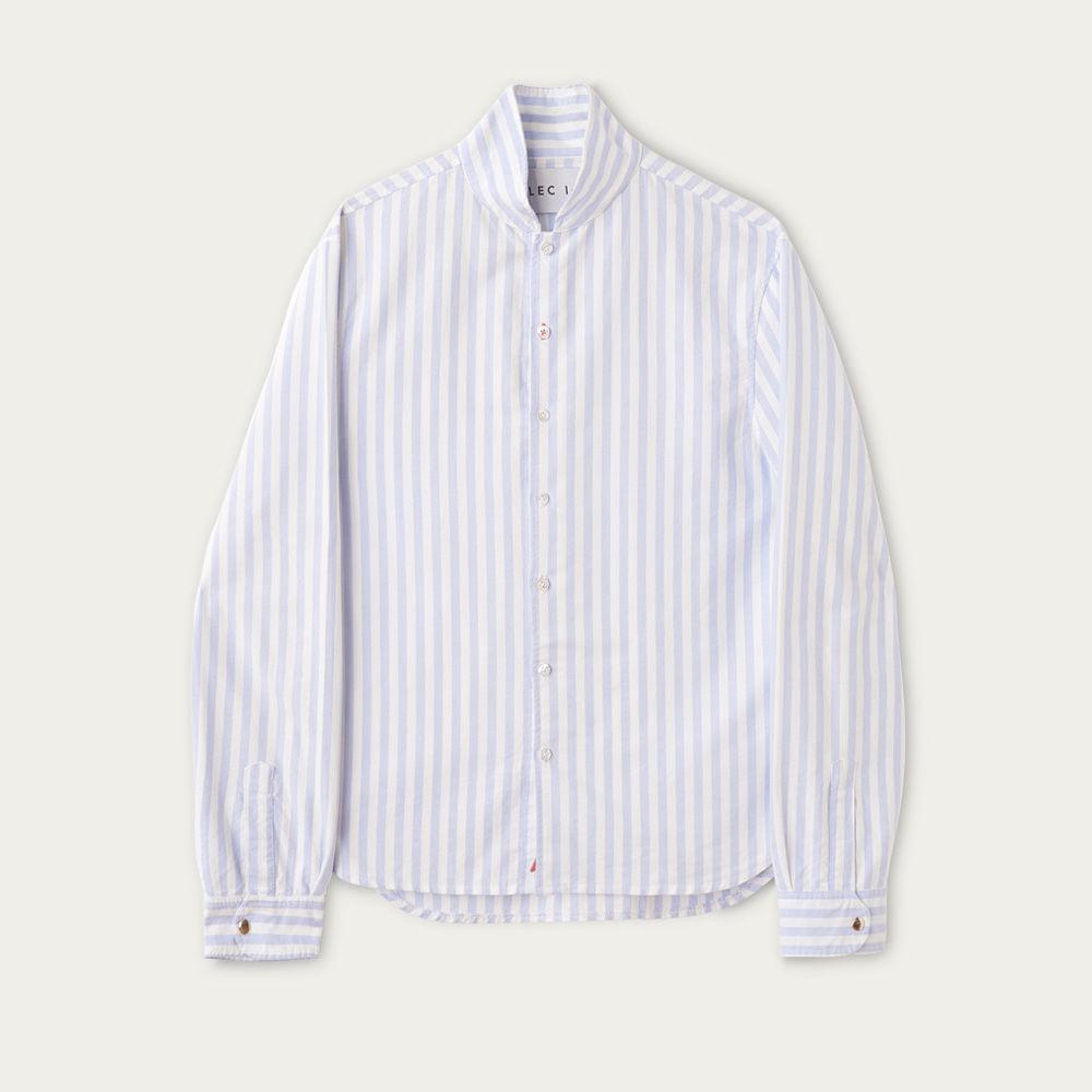 Blue and White Stripe Cotton Shawl Collar Casual Shirt  | Bombinate