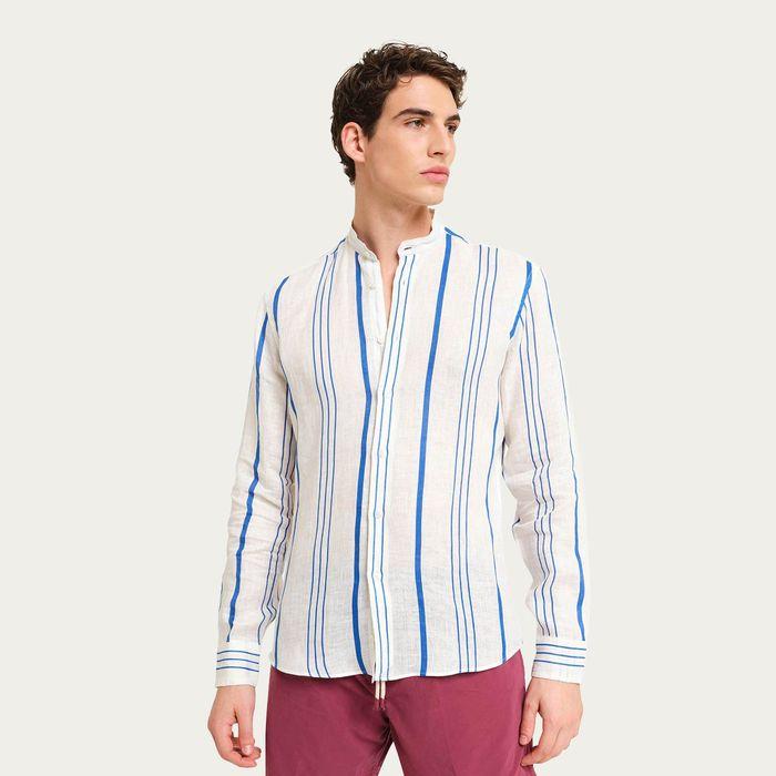 Blue/White La Greca LS Linen Shirt   Bombinate