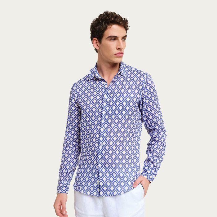 Blue/White Teulada Linen Shirt   Bombinate