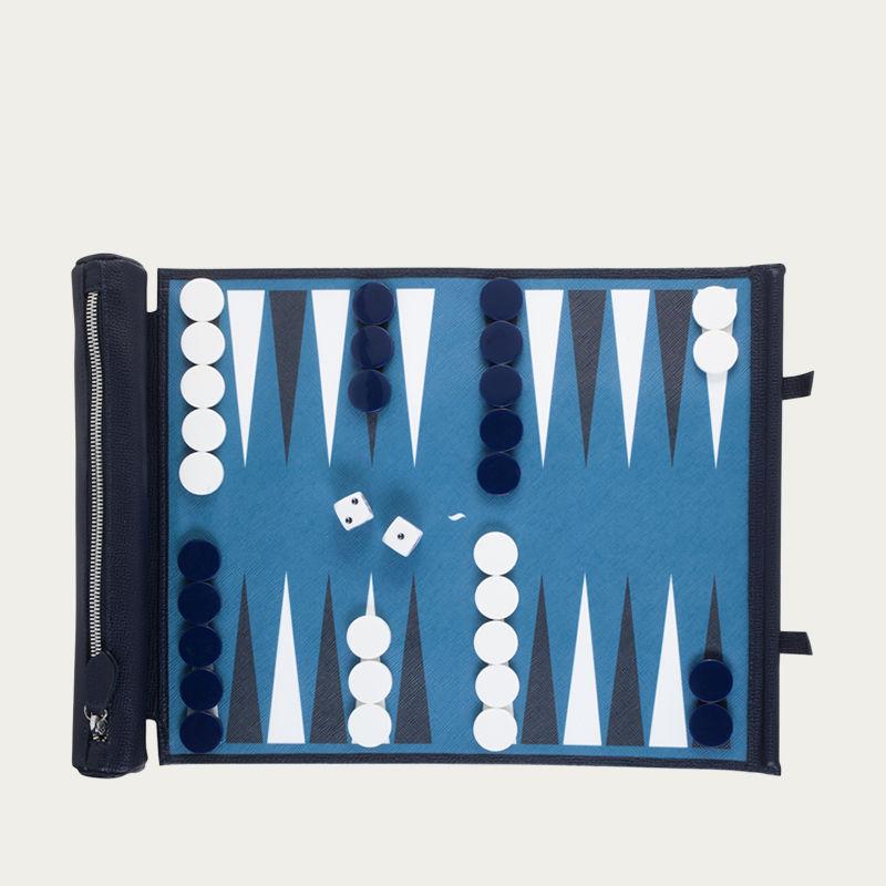 Petrol Blue Backgammon travel set | Bombinate