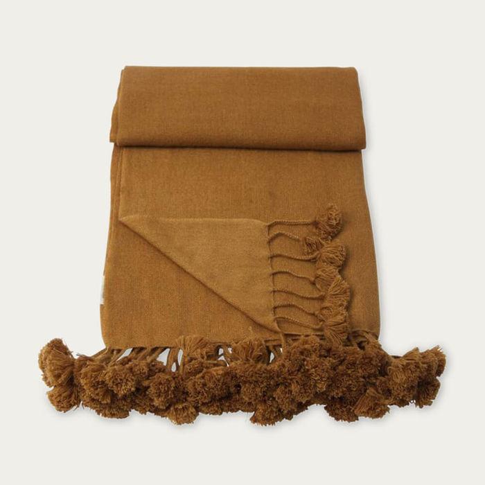 Bronze Wanaka Cashmere Throw with Pompoms | Bombinate