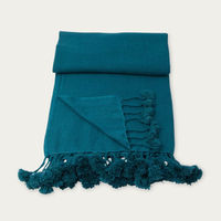 Cord Wanaka Cashmere Throw with Pompoms   Bombinate