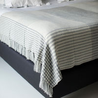 White & Grey Prince of Wales Hand knotted Cashmere Throw | Bombinate