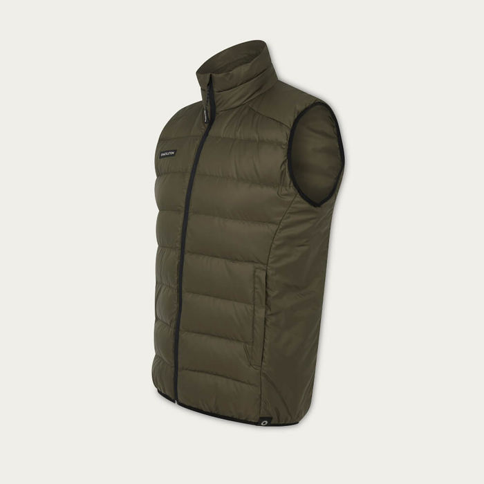 Olive Green Fortuna Lightweight Down Gilet | Bombinate