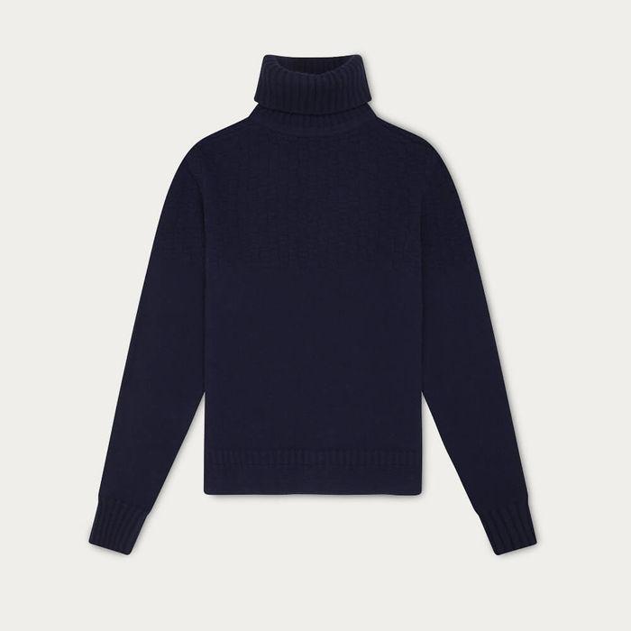Navy Blue Hero Lambswool Roll Neck Sweater | Bombinate