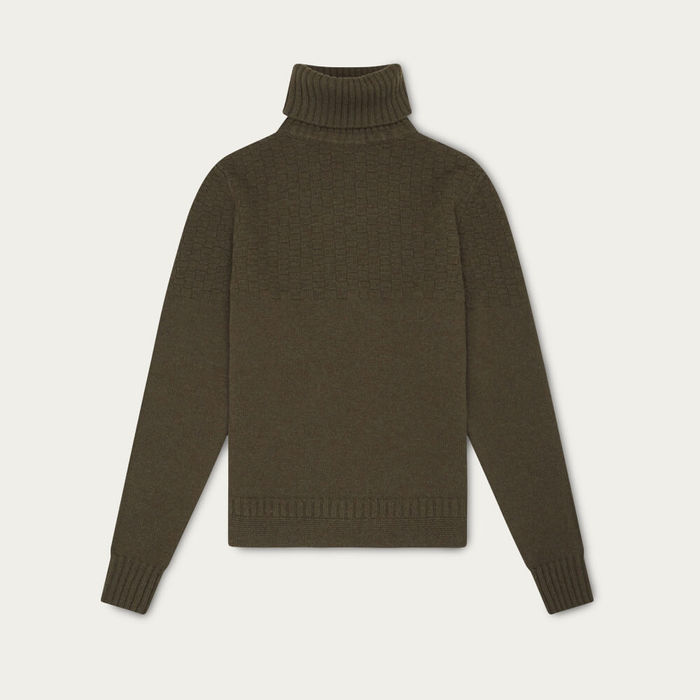 Olive Green Hero Lambswool Roll Neck Sweater   Bombinate