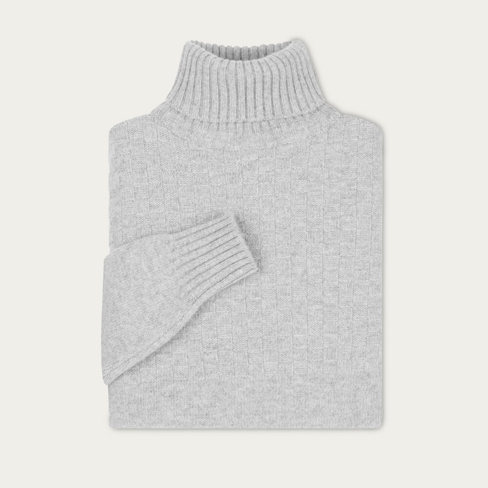 Light Grey Hero Lambswool Roll Neck Sweater | Bombinate