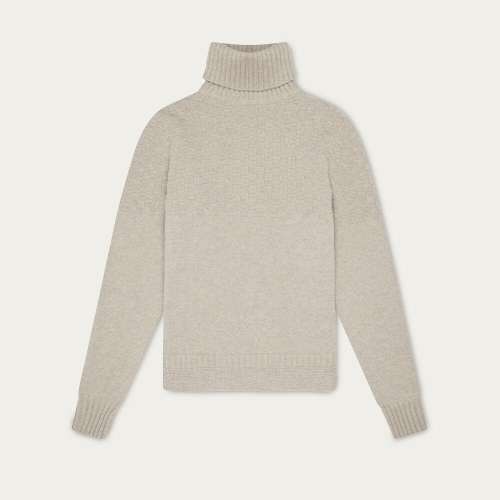 Oatmeal Hero Lambswool Roll Neck Sweater | Bombinate