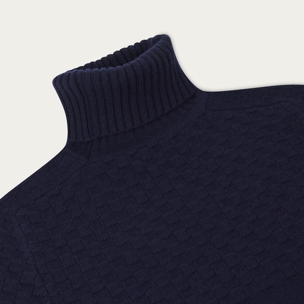 Navy Blue Hero Lambswool Roll Neck Sweater   Bombinate
