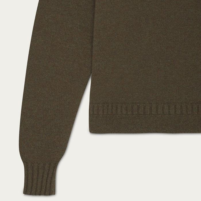 Olive Green Hero Lambswool Roll Neck Sweater | Bombinate