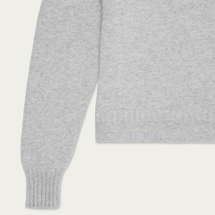 Light Grey Hero Lambswool Roll Neck Sweater | Bombinate