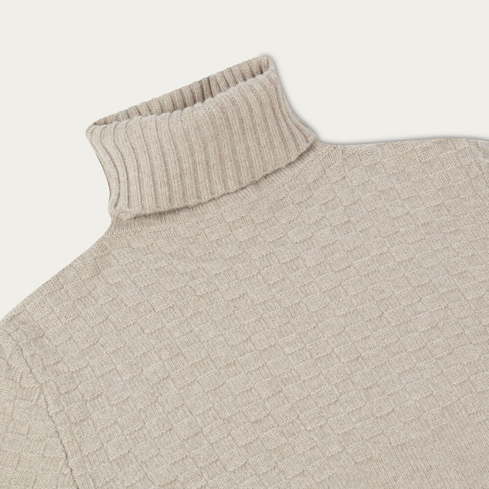 Oatmeal Hero Lambswool Roll Neck Sweater | Bombinate
