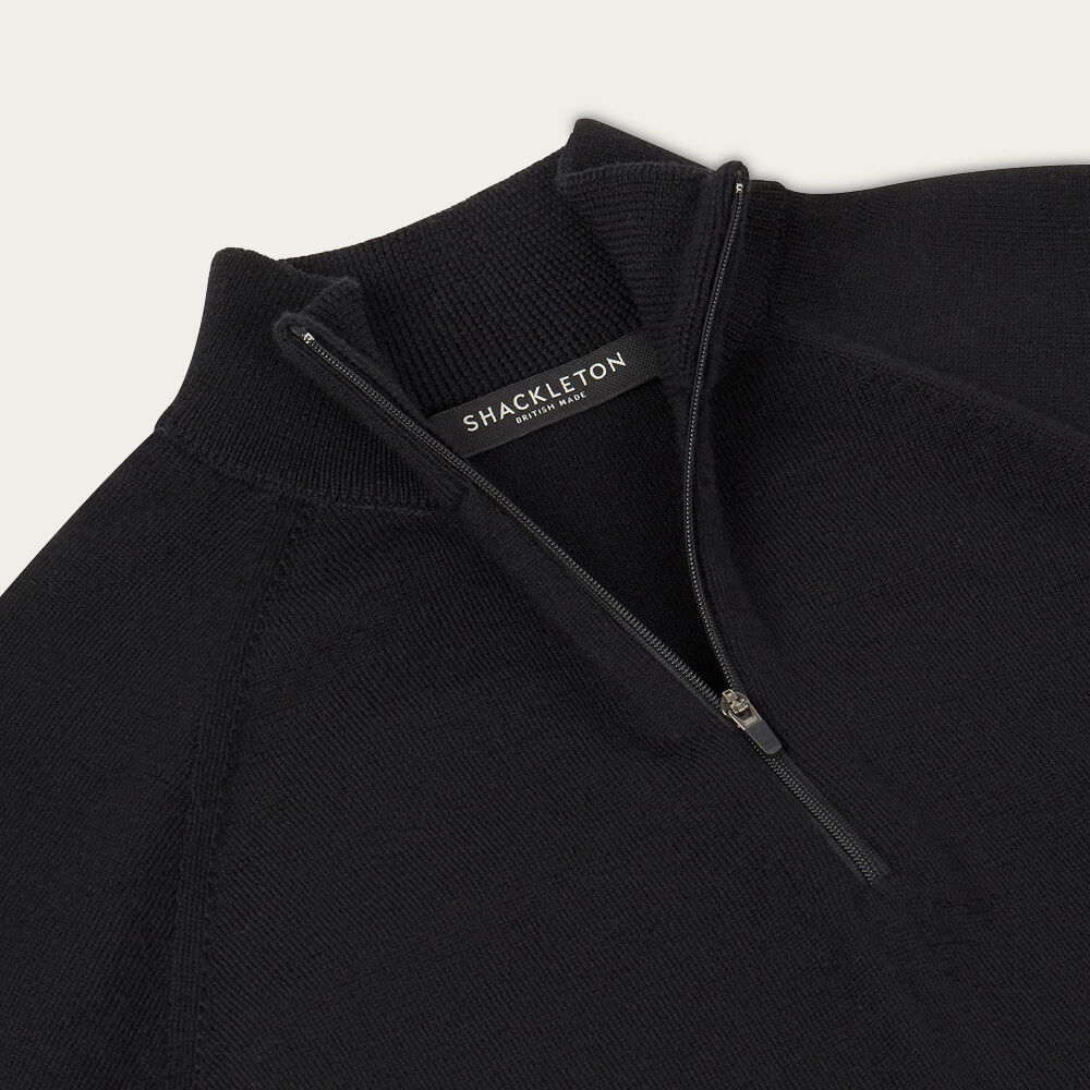 Black Marston Merino Quarter Zip Sweater | Bombinate