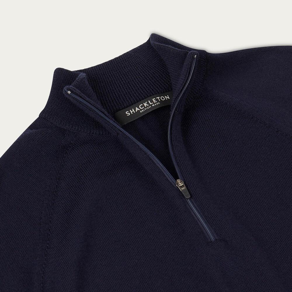 Navy Blue Marston Merino Quarter Zip Sweater | Bombinate