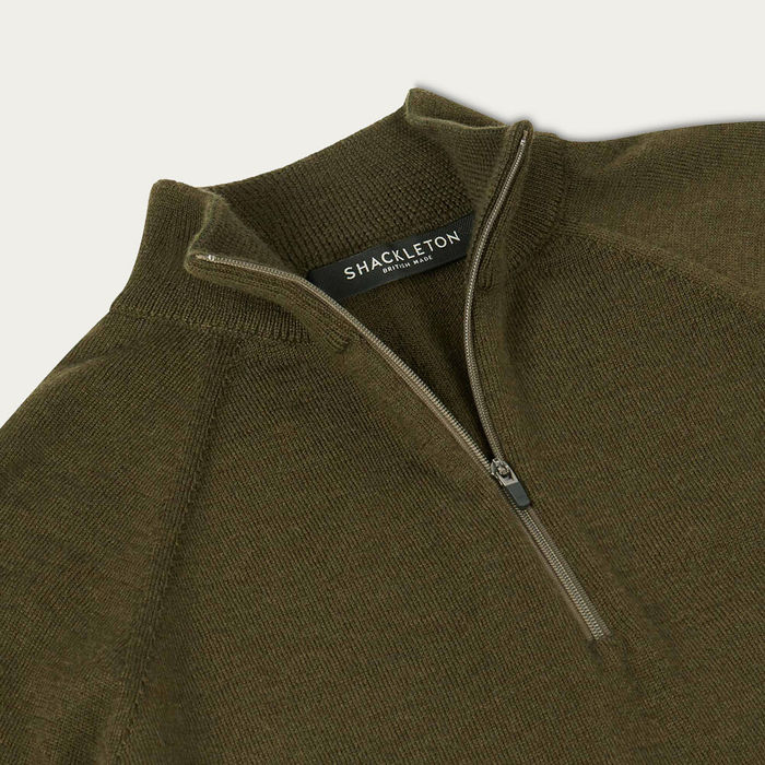 Olive Green Marston Merino Quarter Zip Sweater | Bombinate