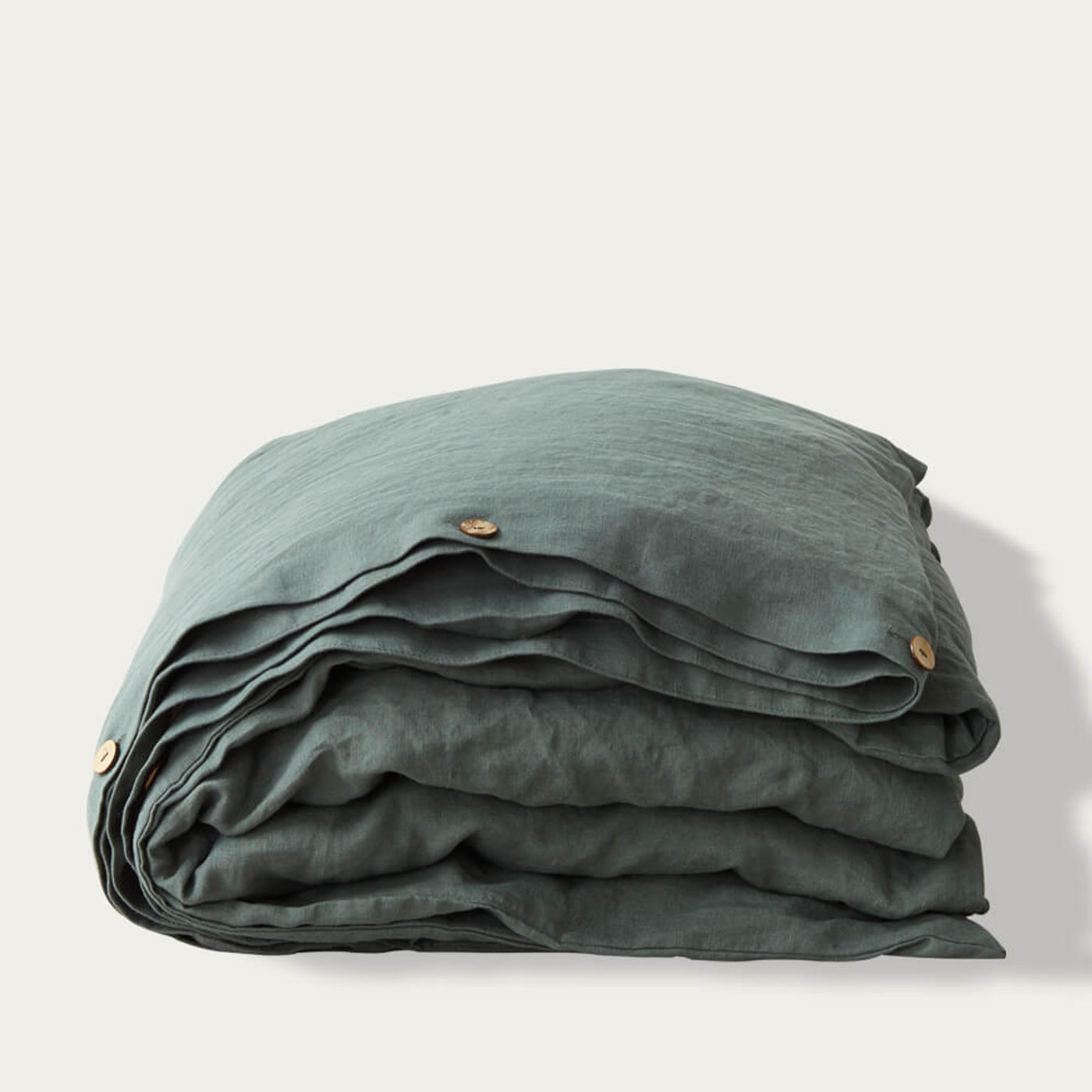 Forest Green Washed Linen Bed Set   Bombinate