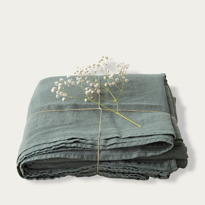 Forest Green Washed Linen Bed Set | Bombinate