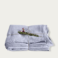 Grey Lilac Washed Linen Bed Set   Bombinate