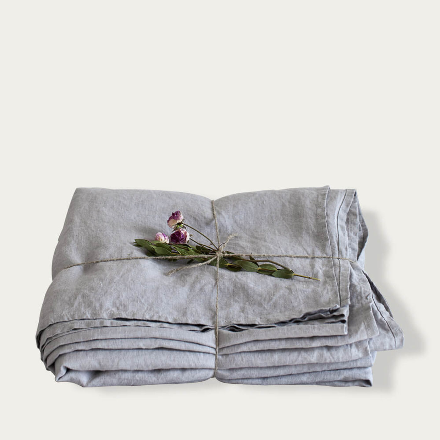 Light Grey Washed Linen Bed Set | Bombinate