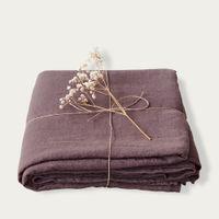 Plum Mauve Washed Linen Bed Set   Bombinate