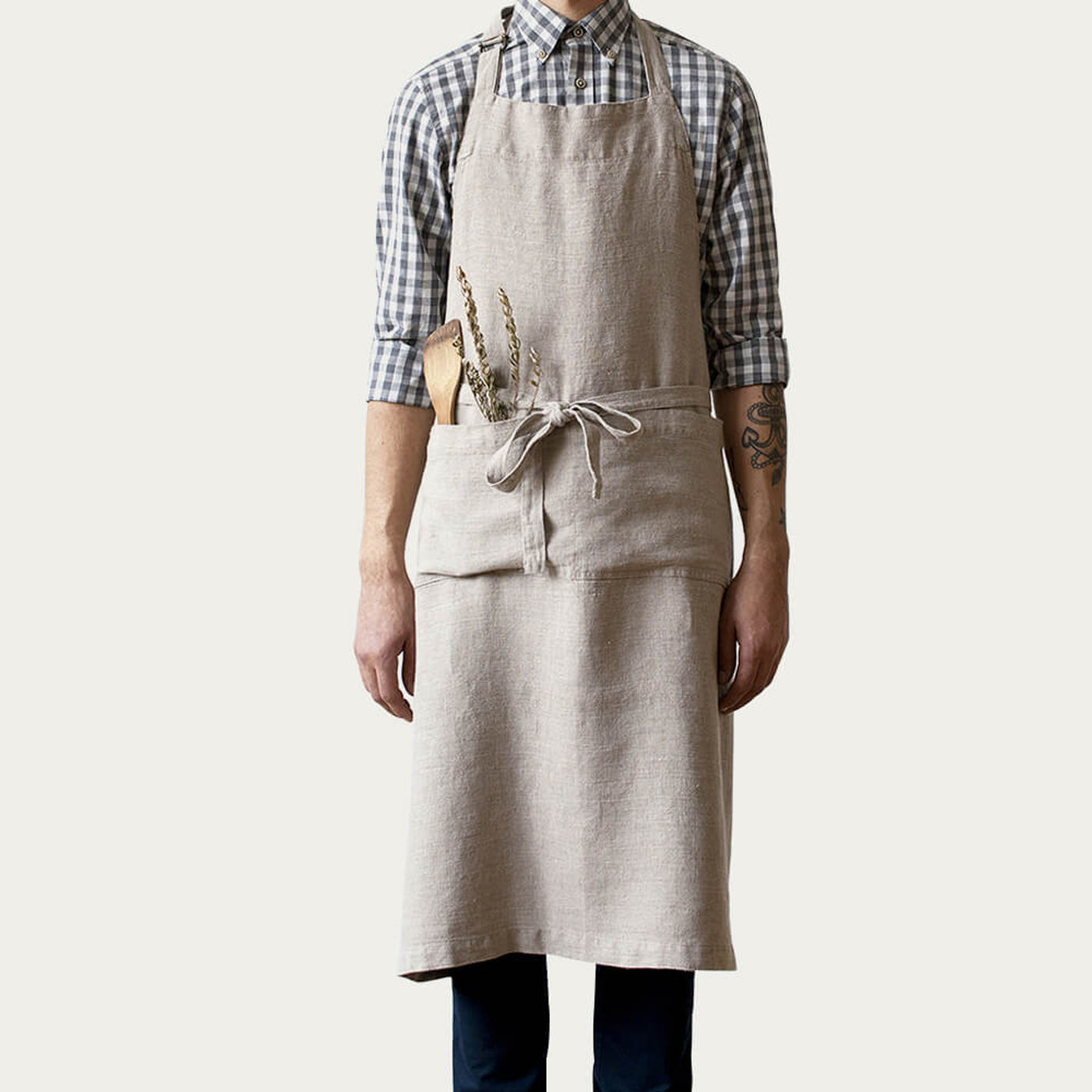 Natural Washed Linen Chef Apron | Bombinate