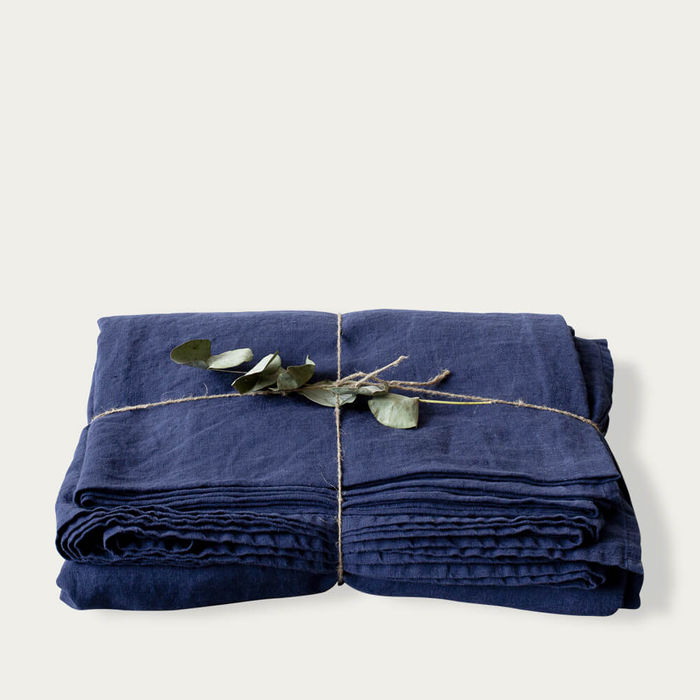Navy Washed Linen Bed Set | Bombinate