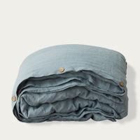 Blue Fog Washed Linen Bed Set | Bombinate