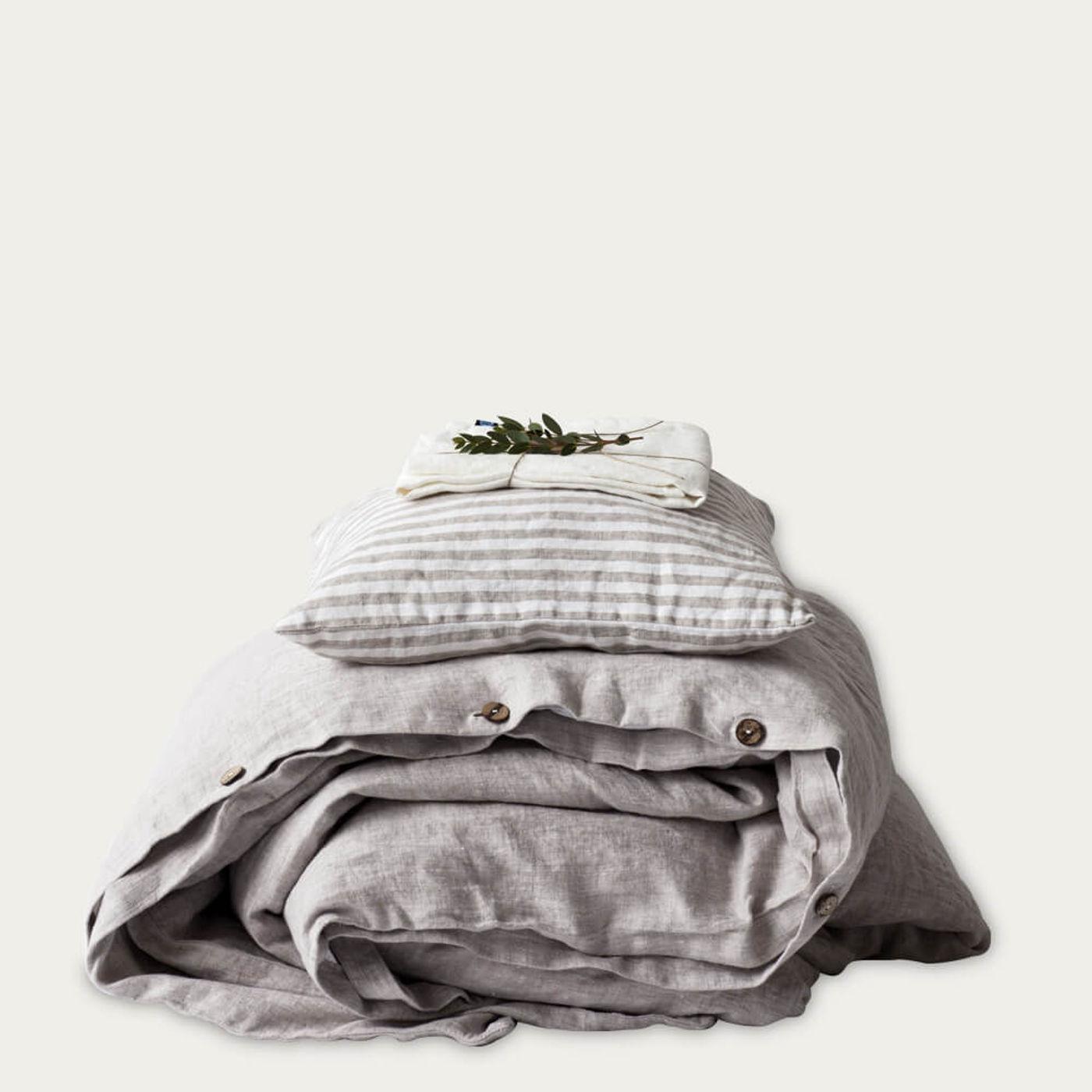 Melange Washed Linen Bed Set   Bombinate