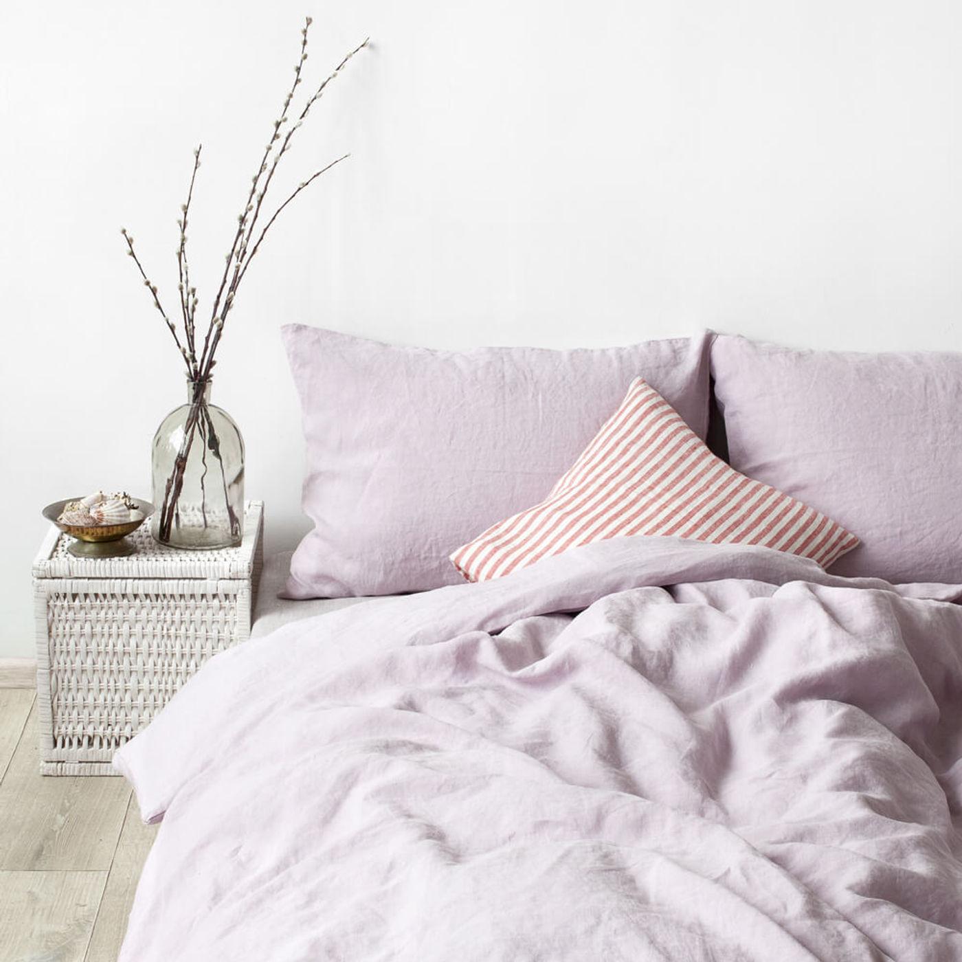 Pink Lavender Washed Linen Bed Set   Bombinate