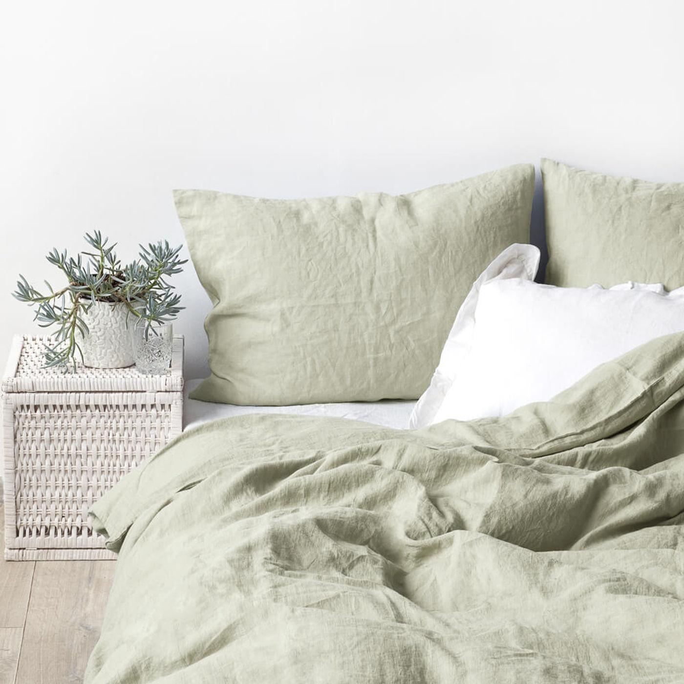 Sage Washed Linen Bed Set | Bombinate