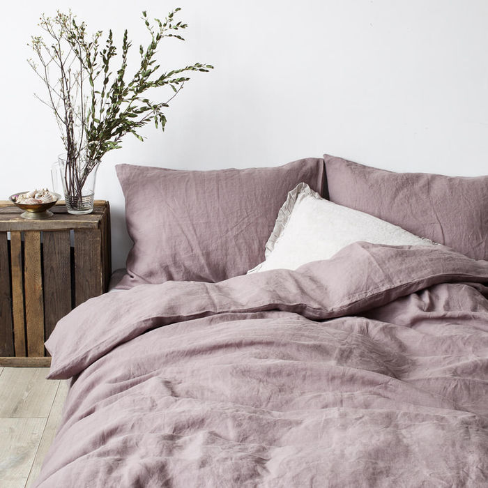 Ashes of Roses Washed Linen Bed Set | Bombinate