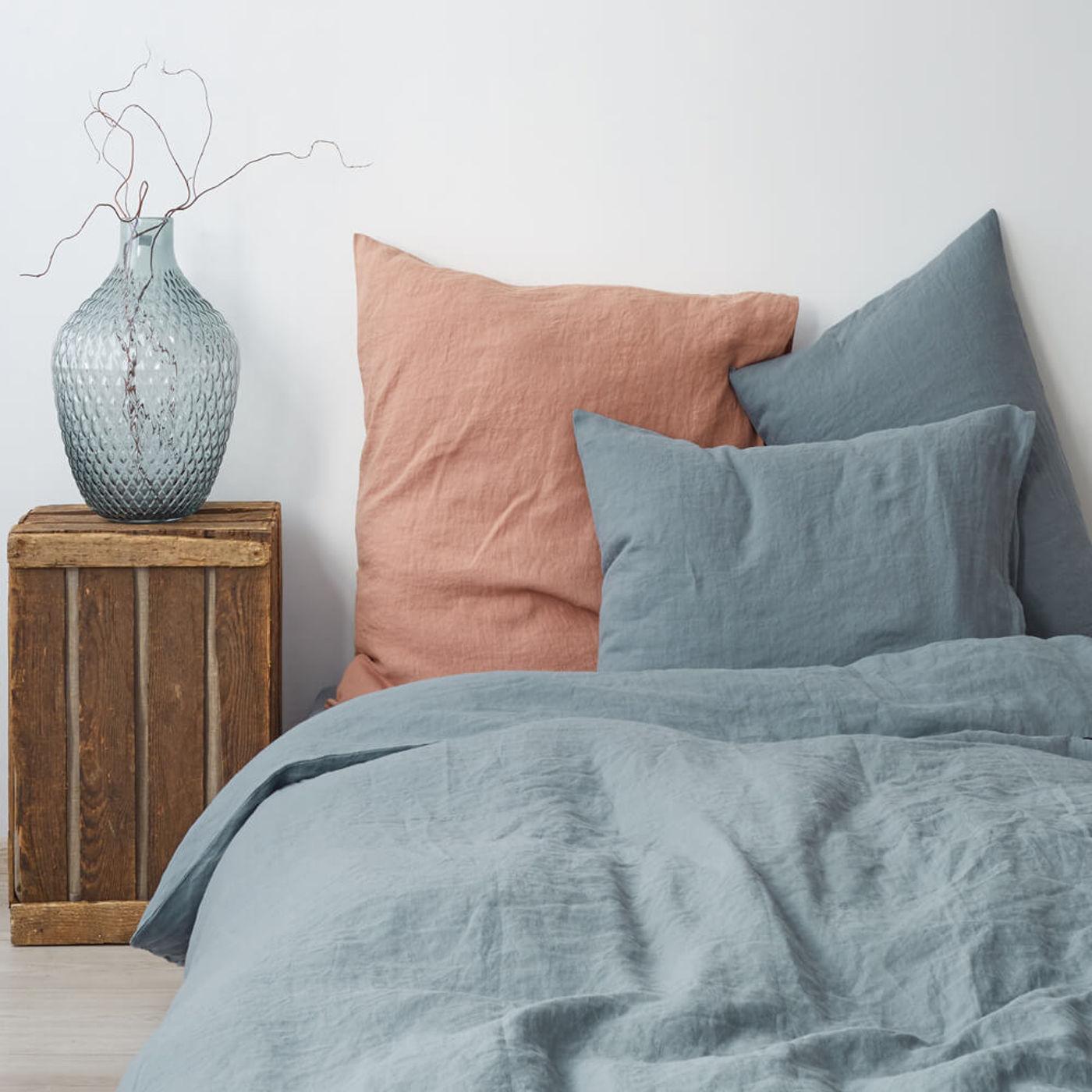Blue Fog Washed Linen Bed Set   Bombinate