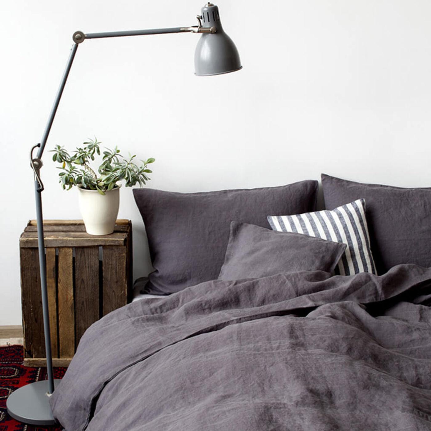 Dark Grey Washed Linen Bed Set | Bombinate