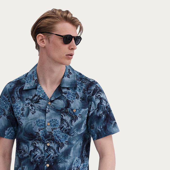Blue Cuban Short Sleeve Shirt | Meiji Bloom | Bombinate
