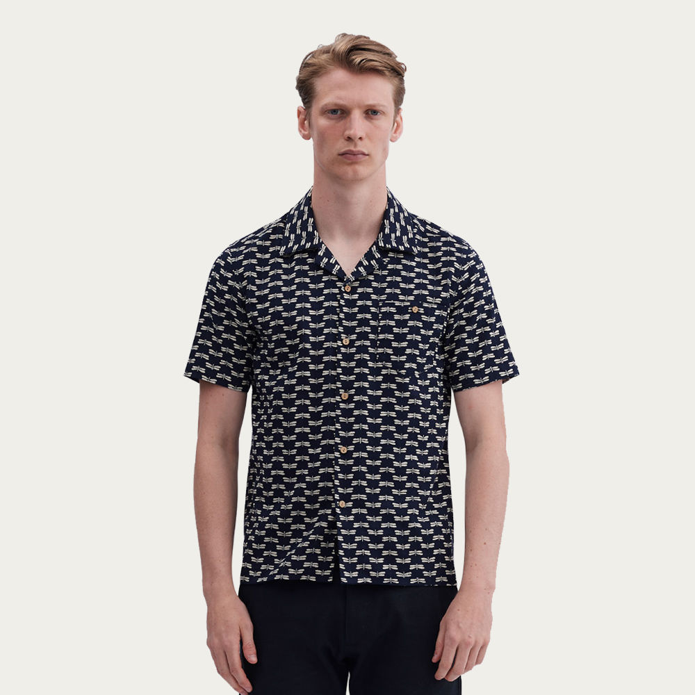 Navy Cuban Short Sleeve Shirt | Dragonfly of Tama | Bombinate
