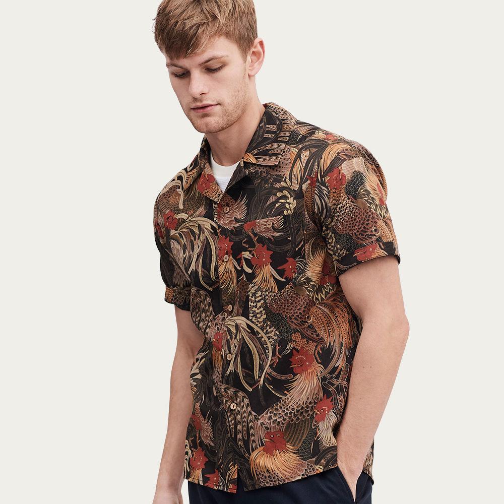 Black Cuban Short Sleeve Shirt | Dusk Edo Rooster | Bombinate