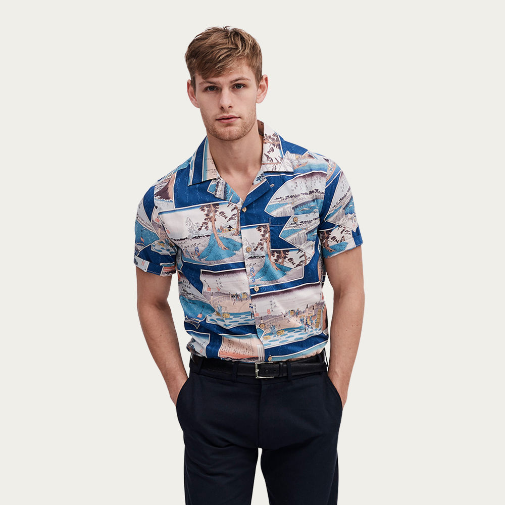 Blue Multi Cuban Short Sleeve Shirt | Ukiyo-e Scene | Bombinate