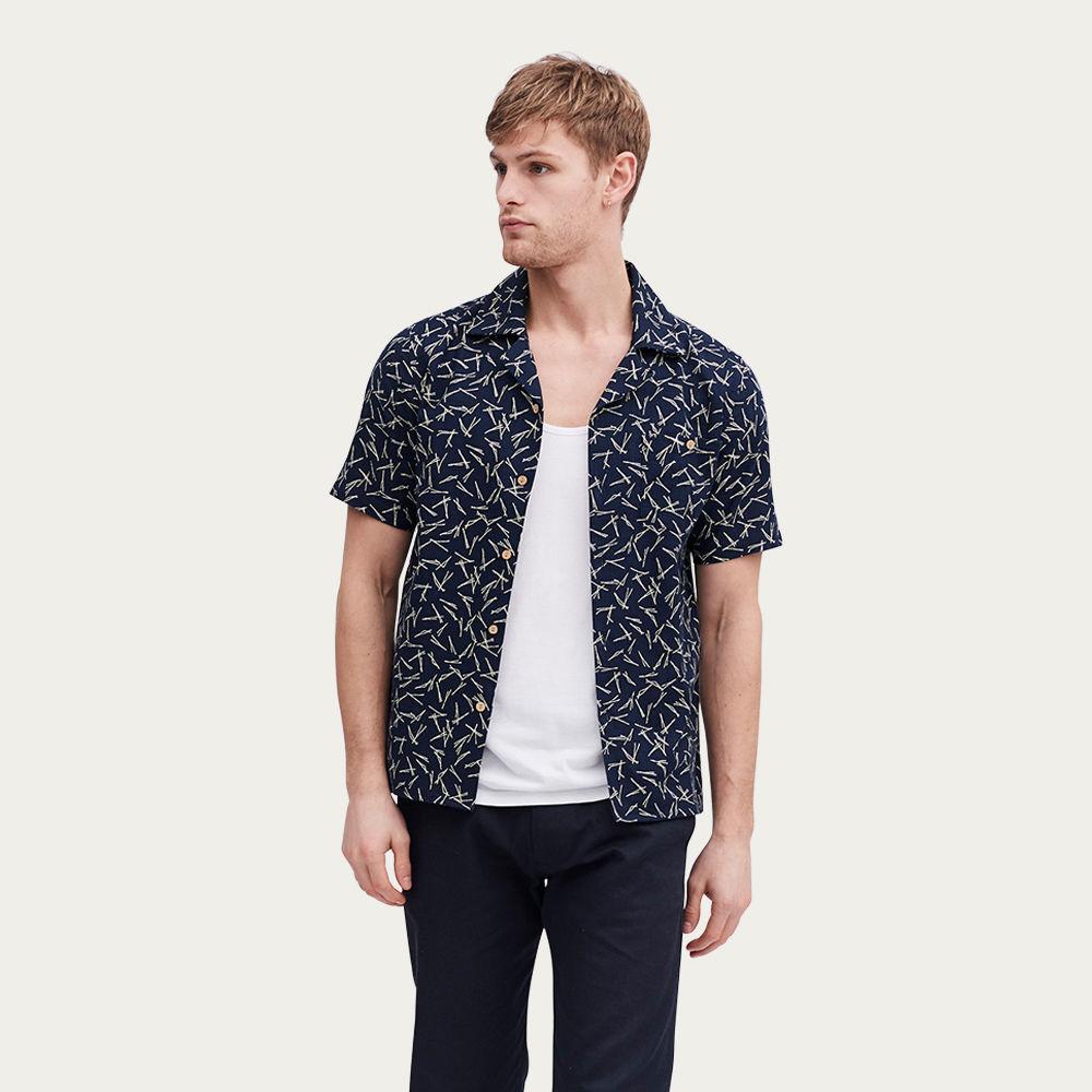 Navy Cuban Short Sleeve Shirt   Niwaki Pine   Bombinate