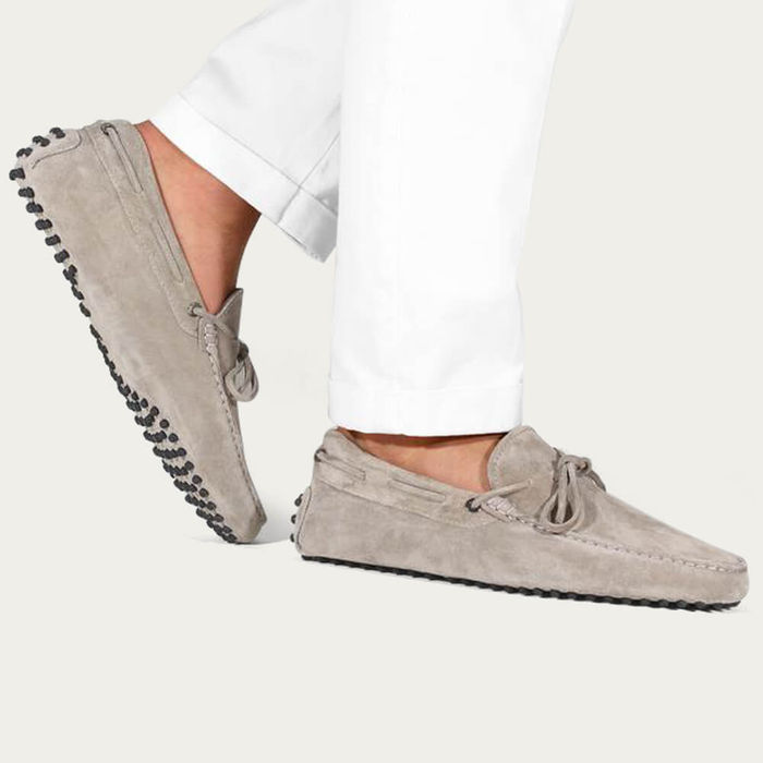 Light Grey Suede Driving Shoes | Bombinate