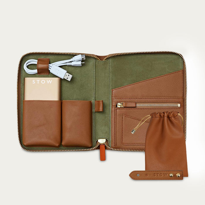 Sahara Tan & Eucalyptus The Mini First Class Leather Tech Set | Bombinate