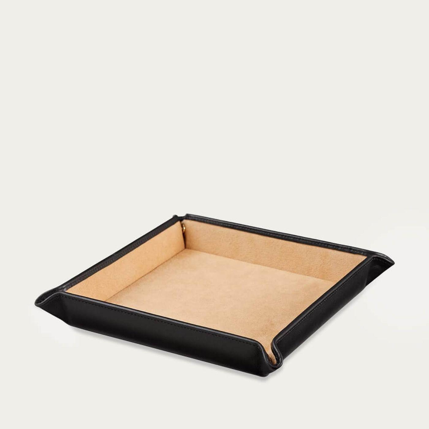 Jet & Soft Sand Large Leather Valet Tray | Bombinate